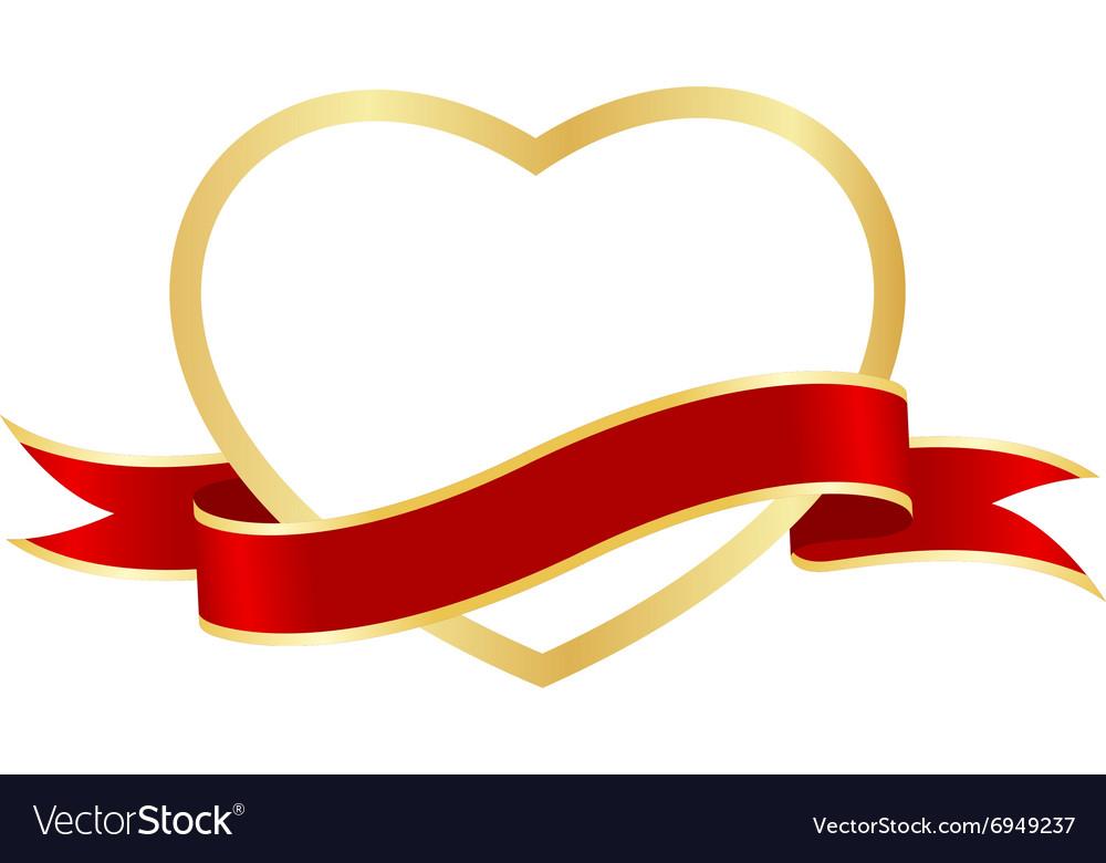 Heart frame ribbon Royalty Free Vector Image - VectorStock