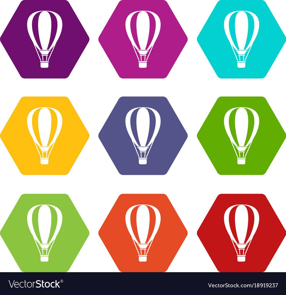 Hot air ballon icon set color hexahedron