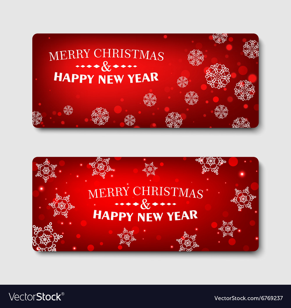 merry christmas banner design background set vector image