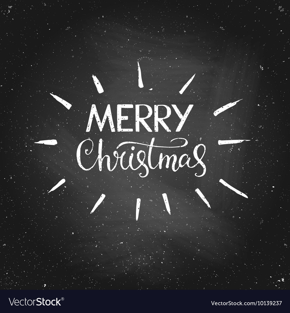 Merry Christmas Greeting Quote On Chalkboard Vector Image