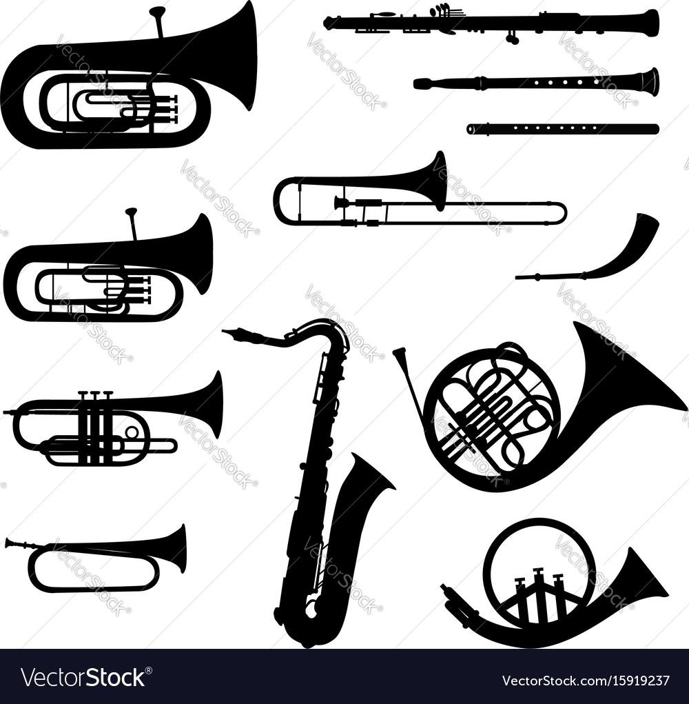 Music instruments set brass musical instrument vector image