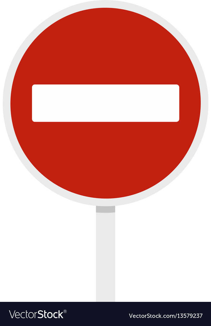 No entry traffic sign icon flat style