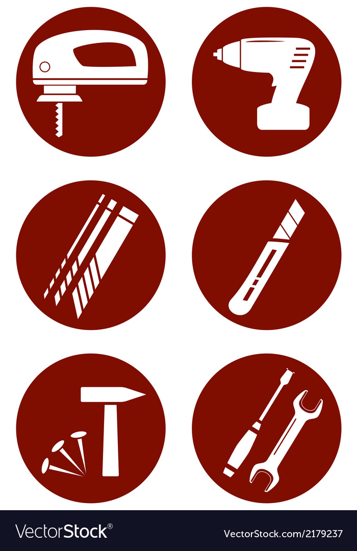 Set icons with construction tools