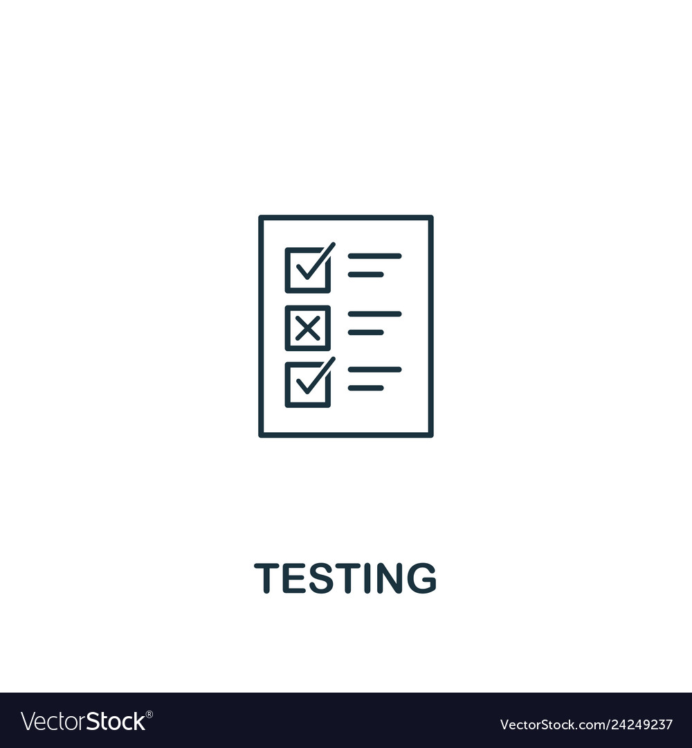 Testing icon thin outline style design from