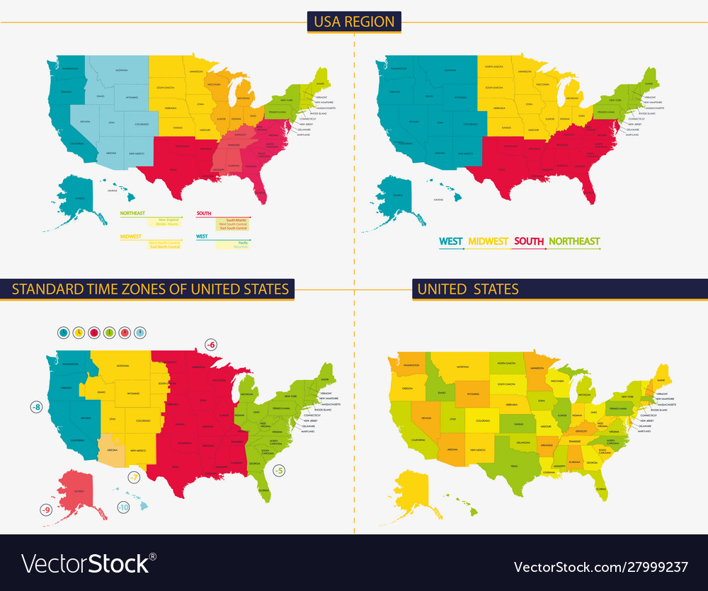 United states standard time zones united vector image