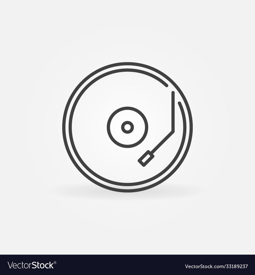 Vinyl player concept round line icon