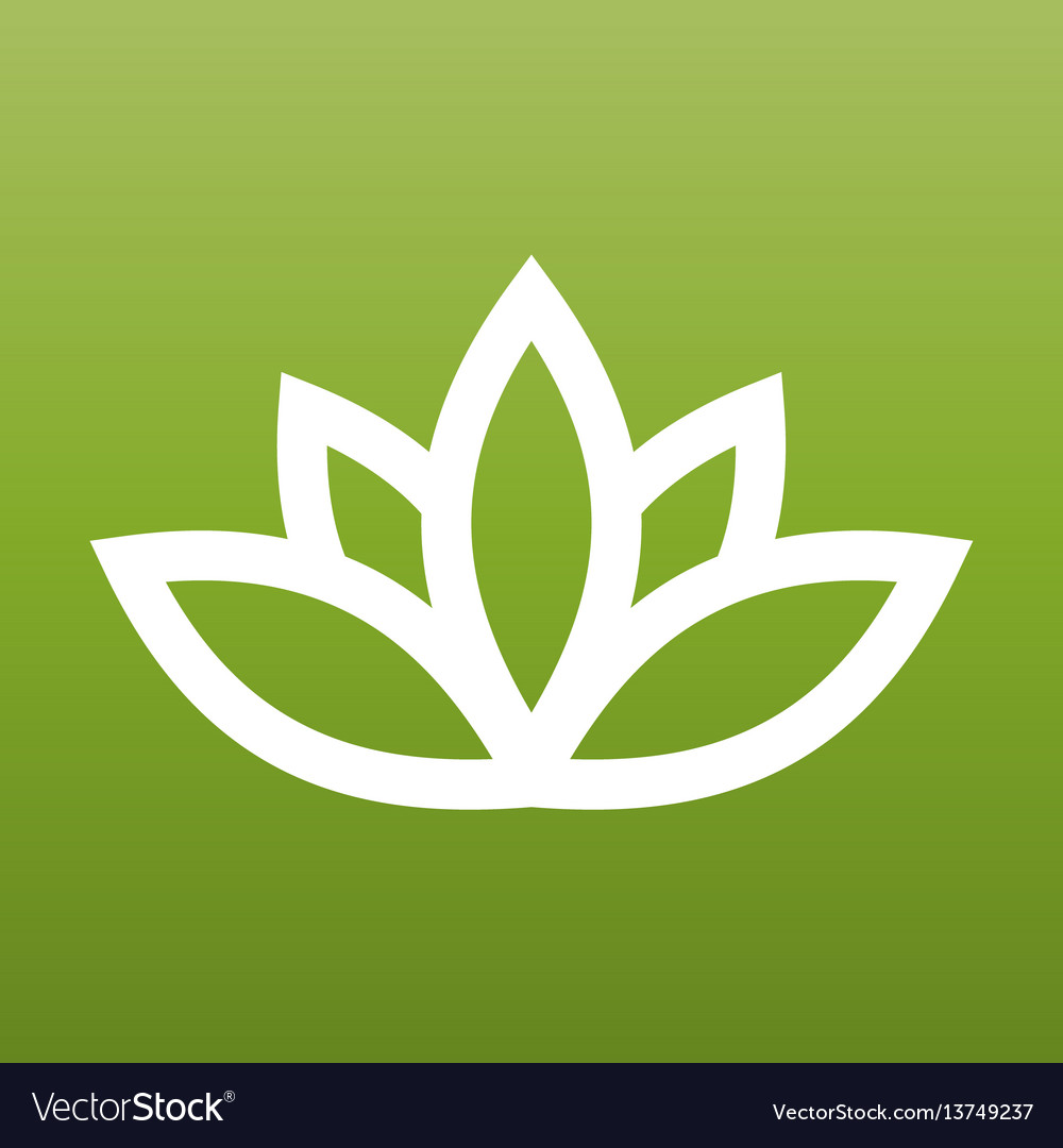 White lotus symbol on green background spa and