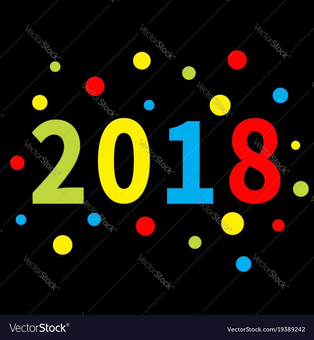 2018 new year colorful round dot template for