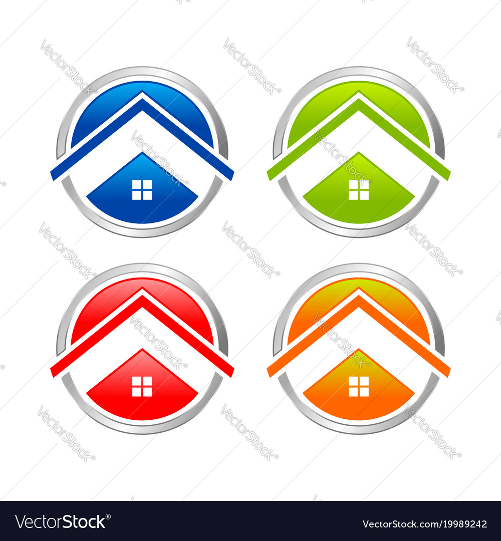 Abstract multi colored home circle icon set