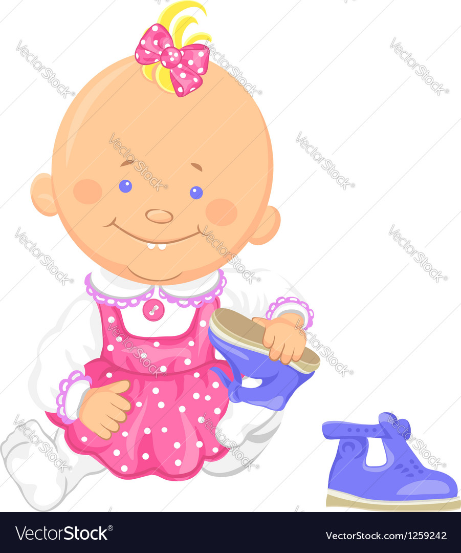 Baby girl learns to put on ones shoes