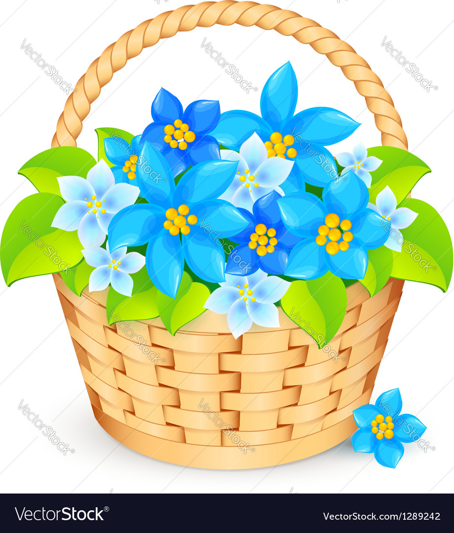 Basket Of Blue Flowers Royalty Free Vector Image