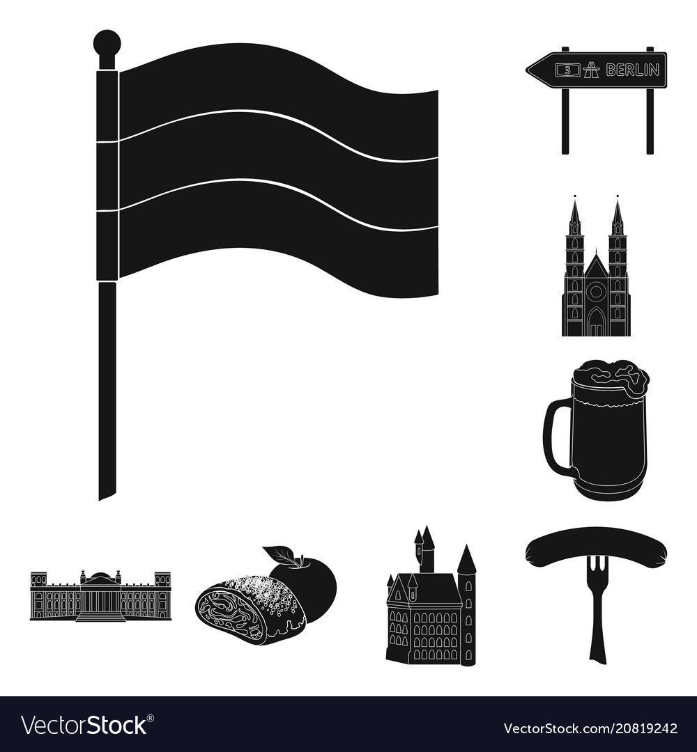Country germany black icons in set collection for