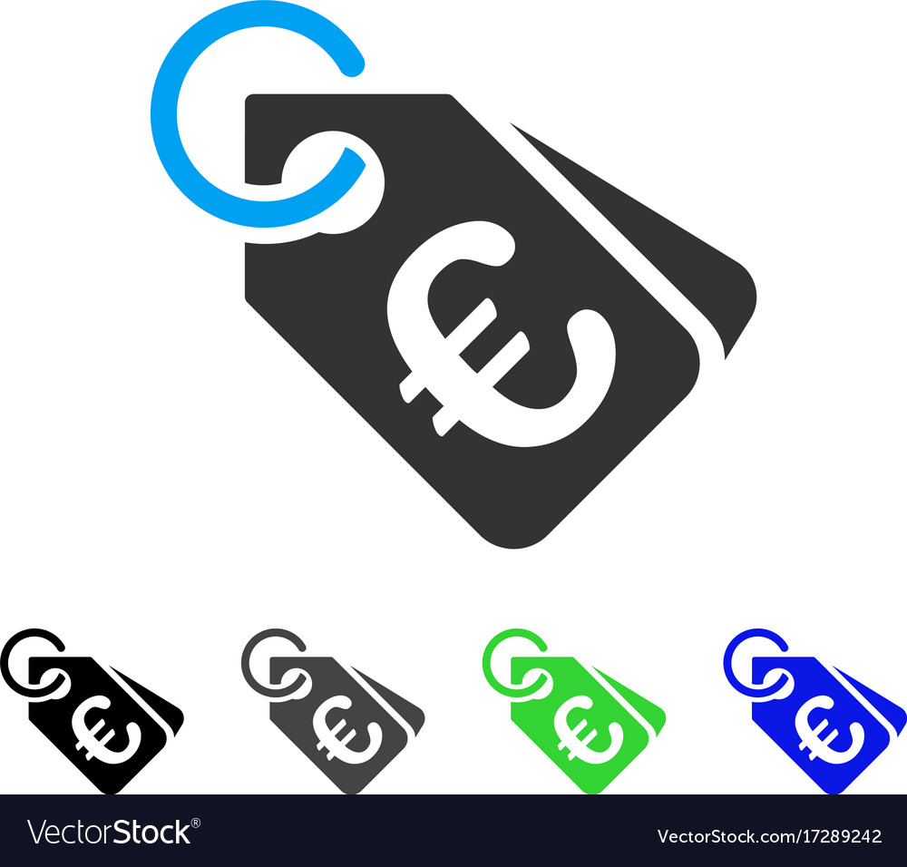 Euro price tags flat icon vector image on VectorStock