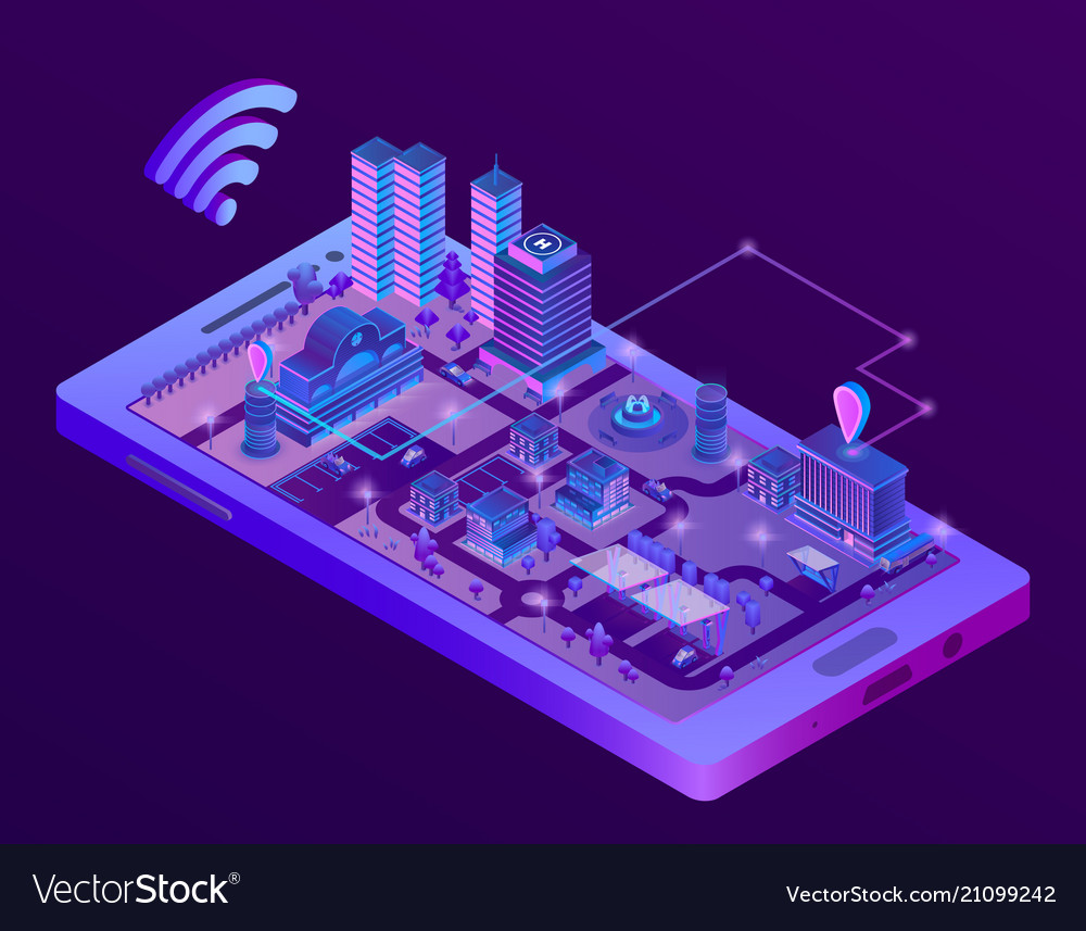 Isometric smart city on smartphone screen