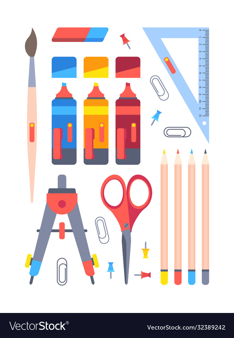 Office stationery tools set equipment work and