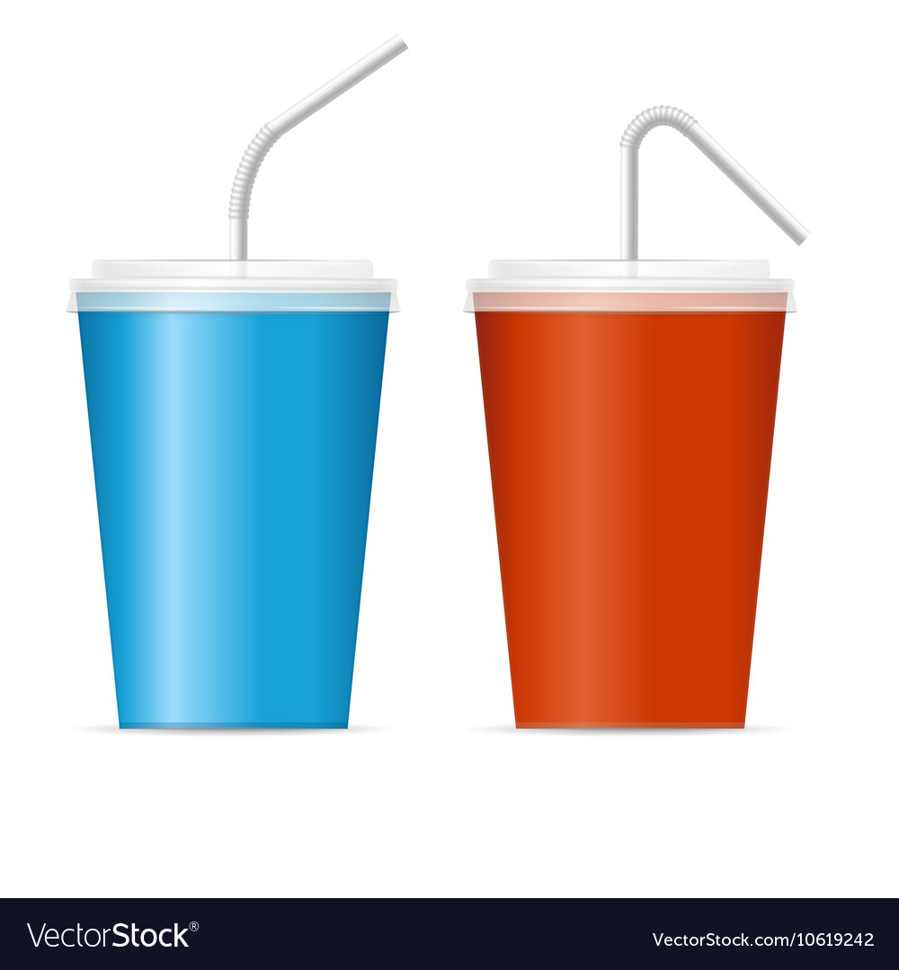paper cup template for soda set royalty free vector image