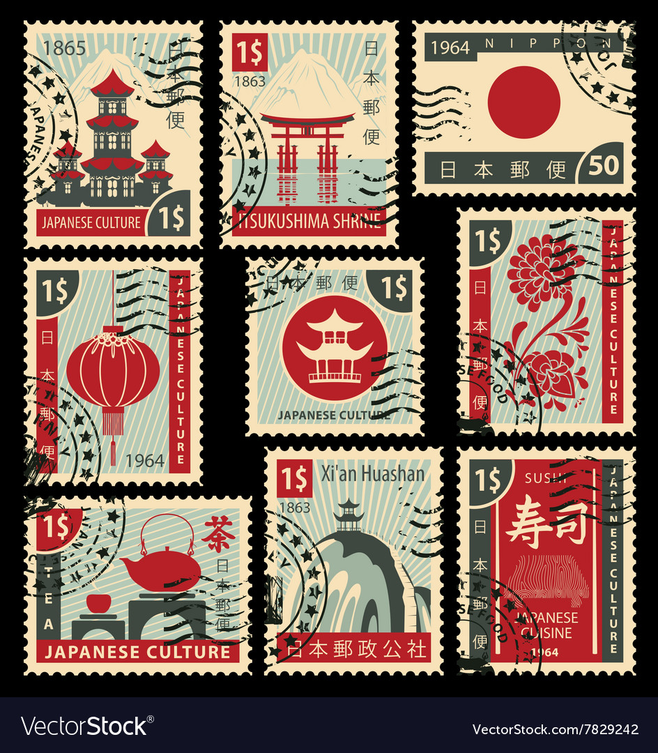 Postage stamps on the theme of Japanese culture