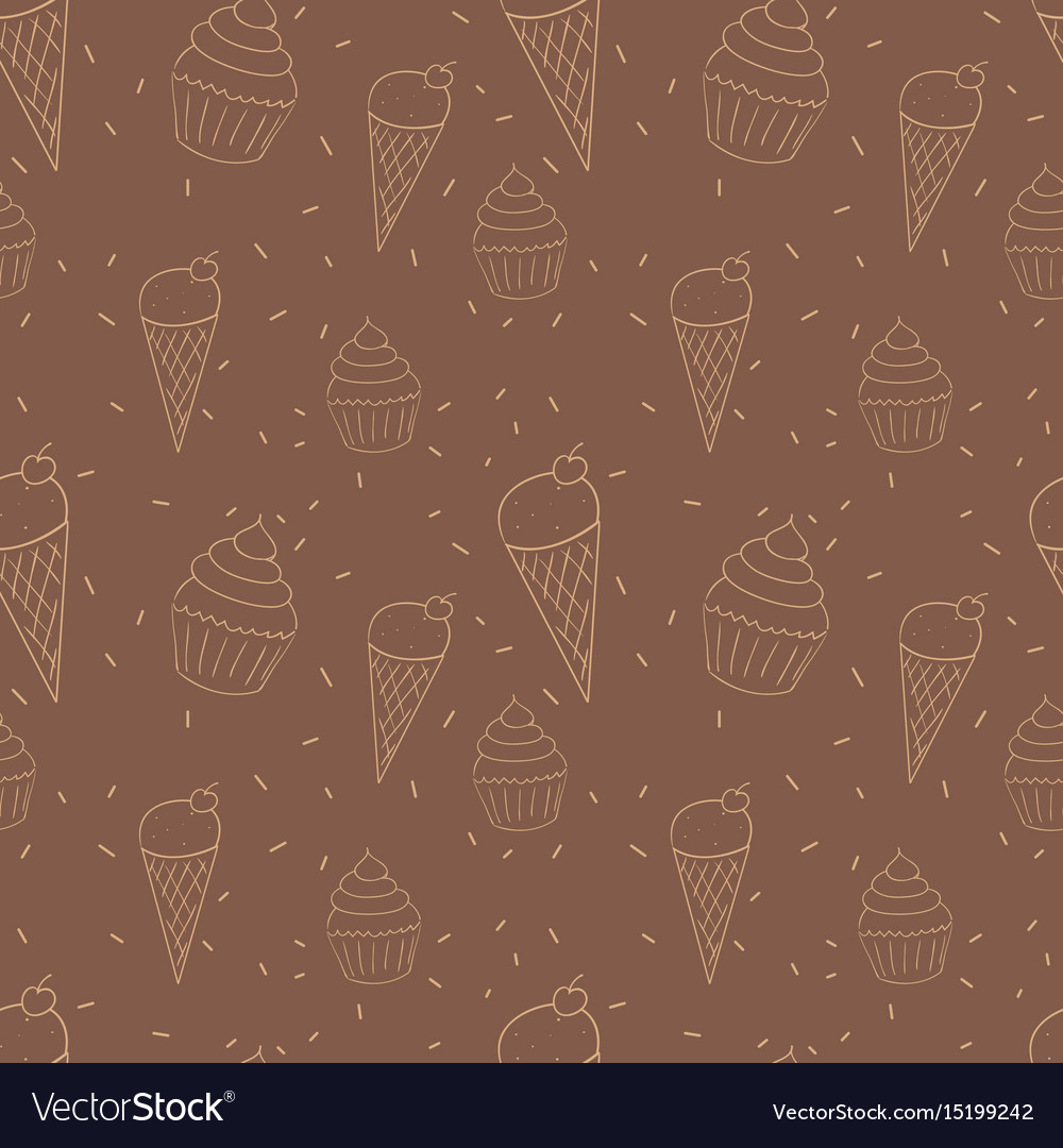 Seamless pattern with ice cream cones and cupcakes vector image