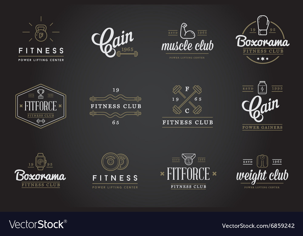 Set of Fitness Aerobics Gym Elements and Fitness