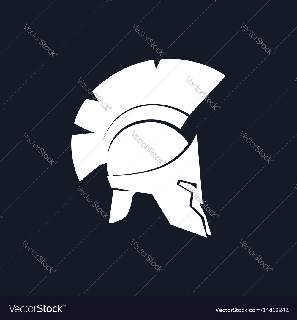 Silhouette antiques greek helmet vector image