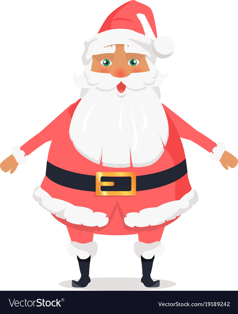 Standing santa front view on white background