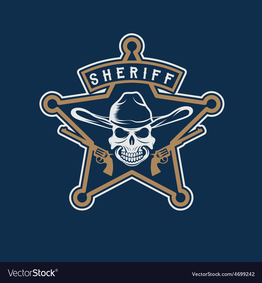Star of sheriff with skull in hat and guns vector image