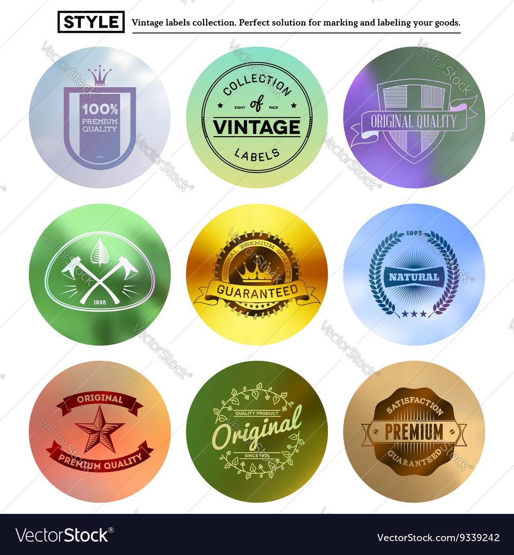 Vintage premium labels set on tile structured