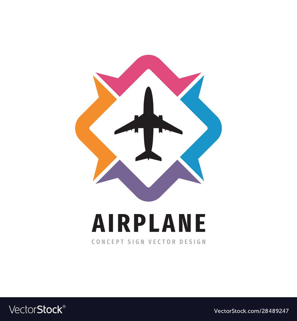 Airplane concept logo design travel direction