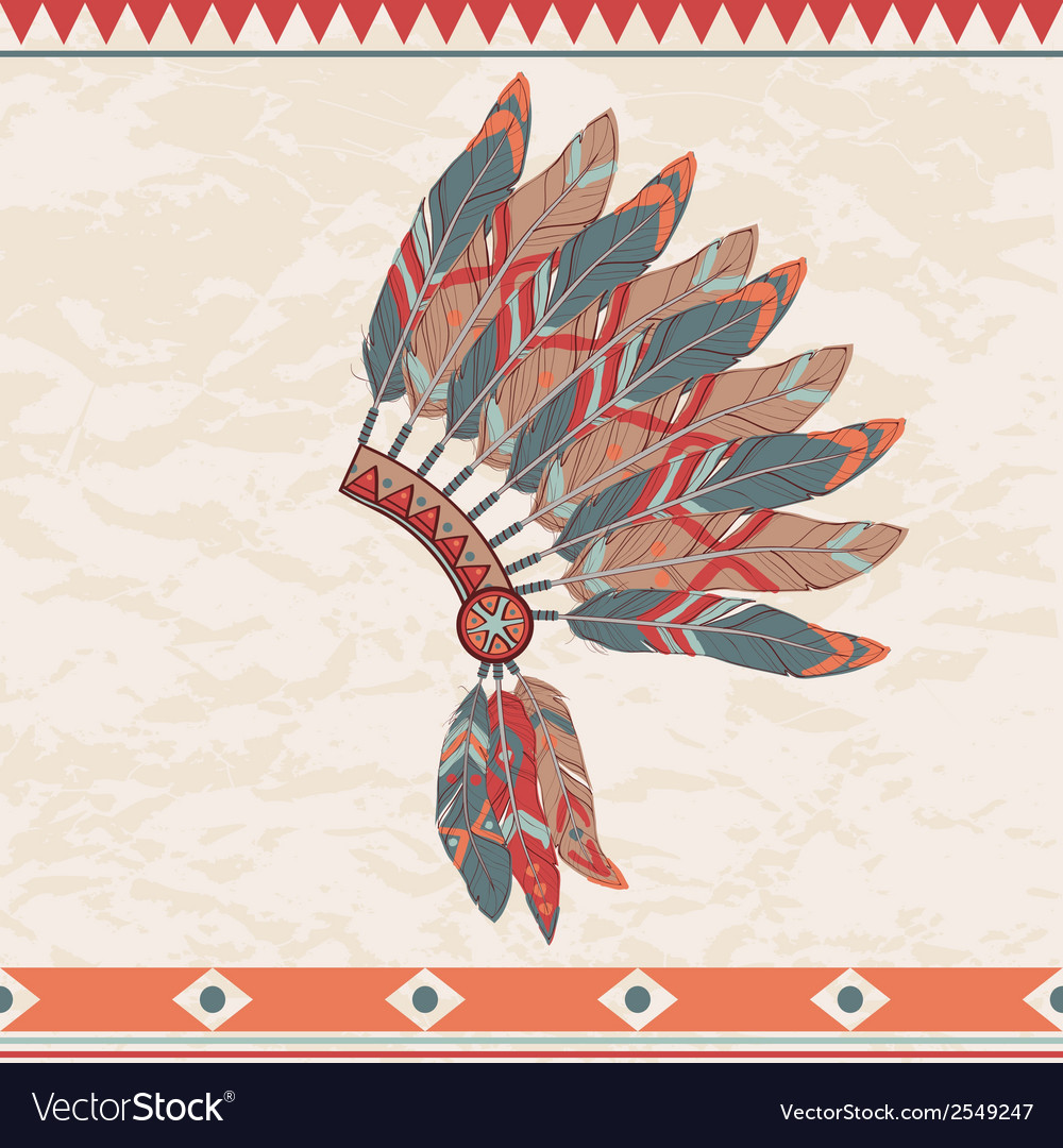 Colorful of native american indian chief hea