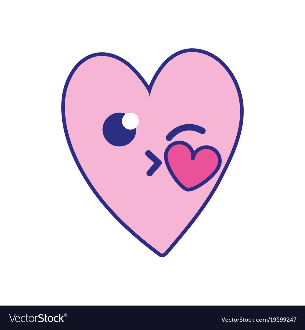 Full color cute heart kiss kawaii cartoon Vector Image
