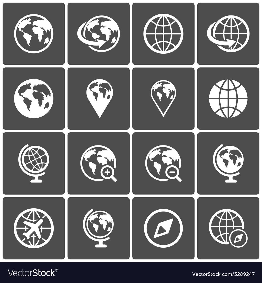 Globe icon pack on dark background
