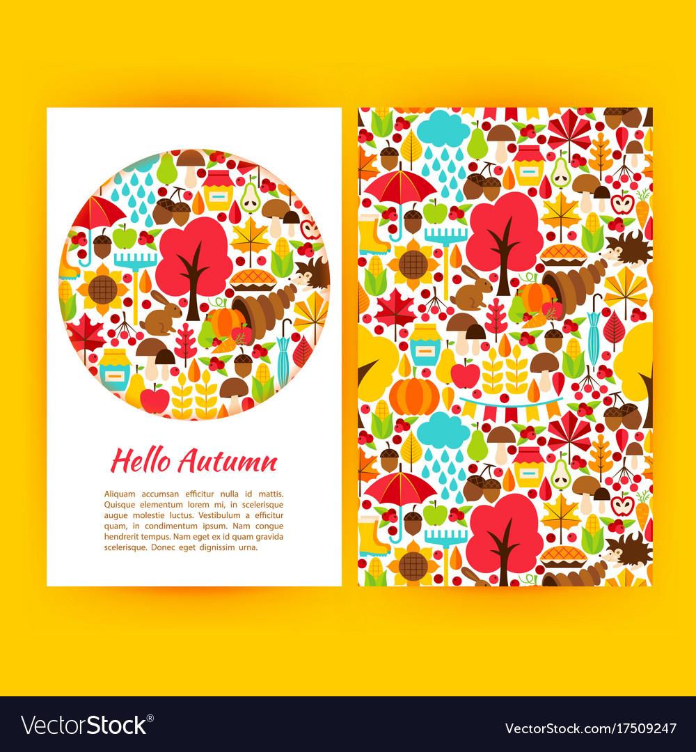 Hello Autumn Flyer Template Royalty Free Vector Image