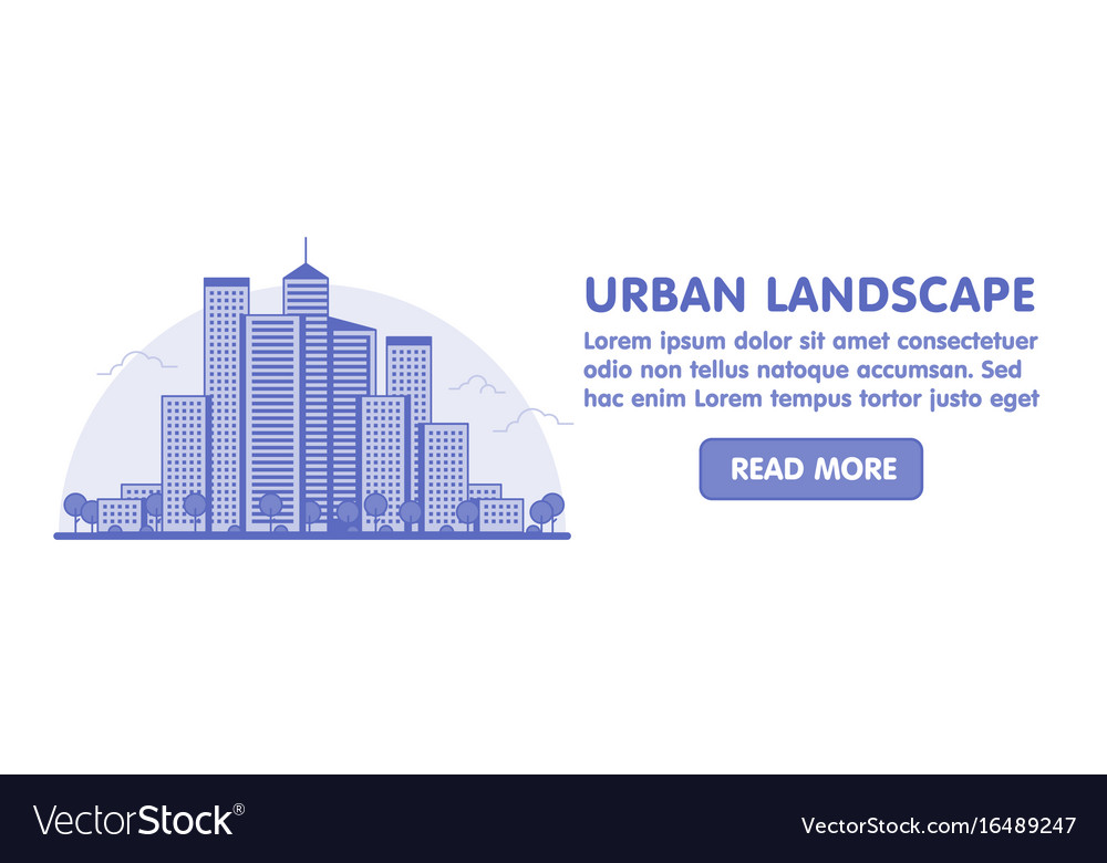 Line art of modern big city background with vector image