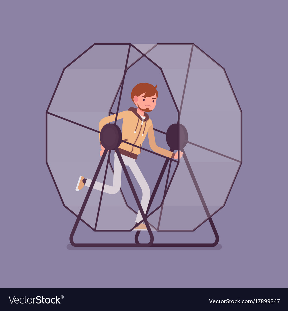 Man in a running wheel vector image