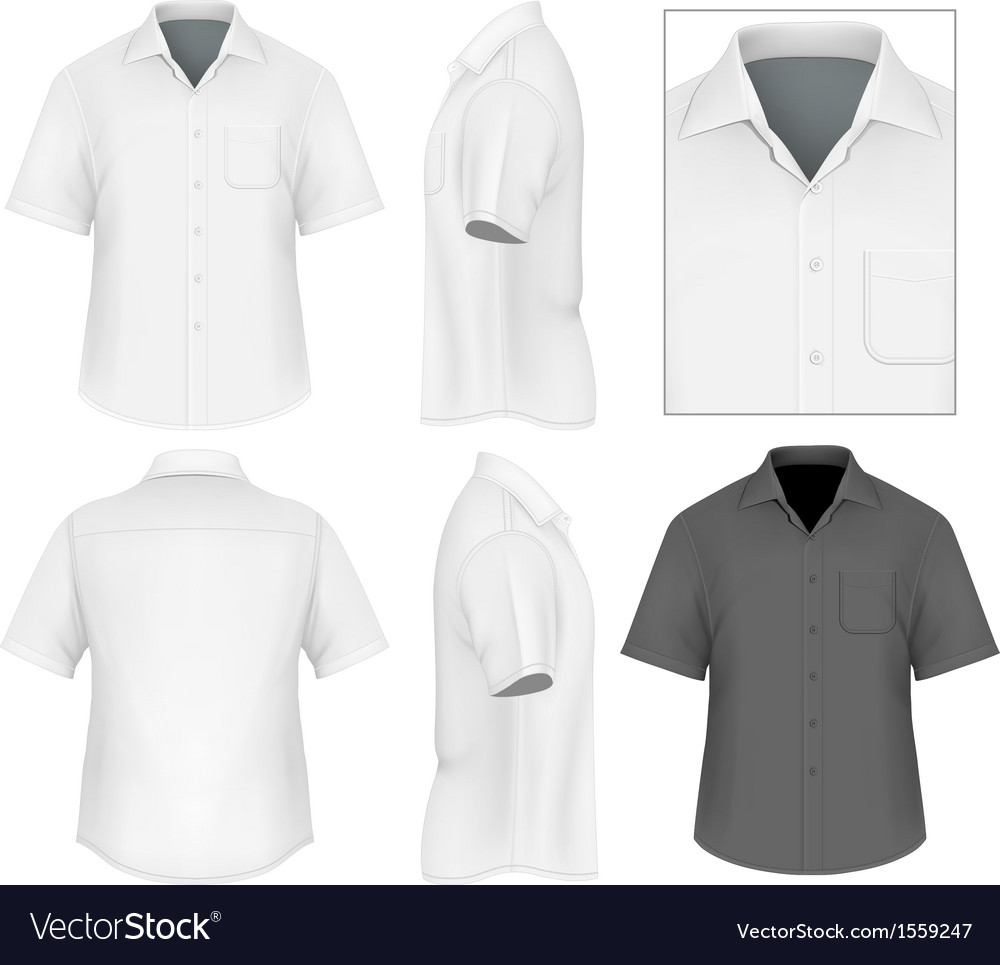 Mens button down shirt design template vector image