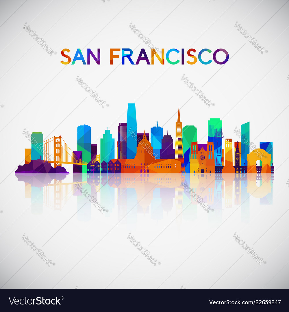 San francisco skyline silhouette in colorful