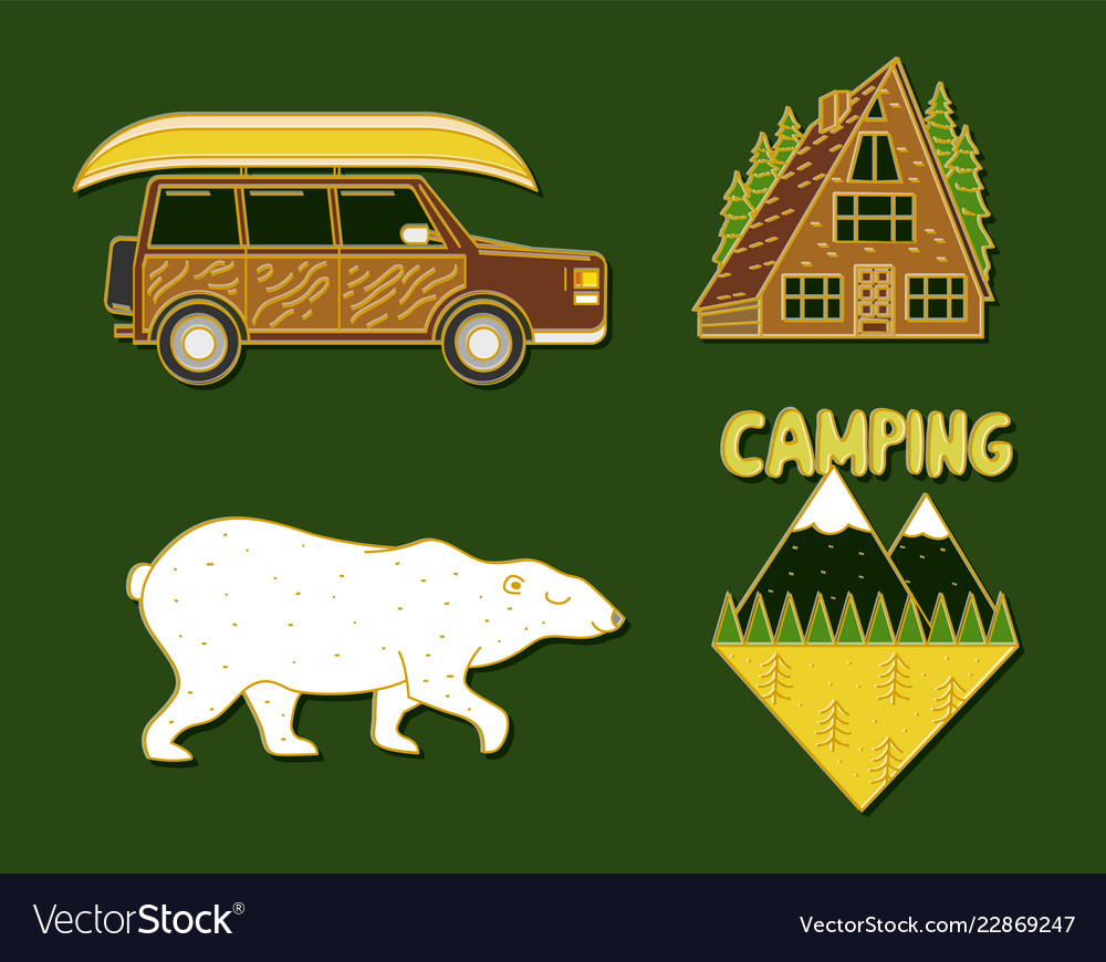 Set of cute camping elements equipment in forest