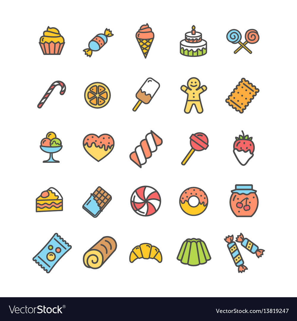 Sweets and bakery icon thin line set