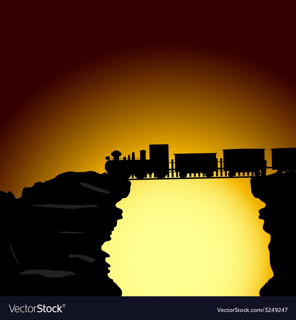 Train on the bridge on the cliff