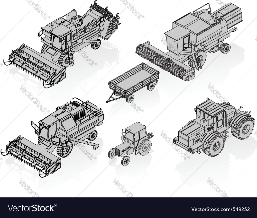 Agricultural vehicles set vector image