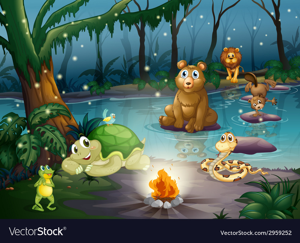 Animal and campfire