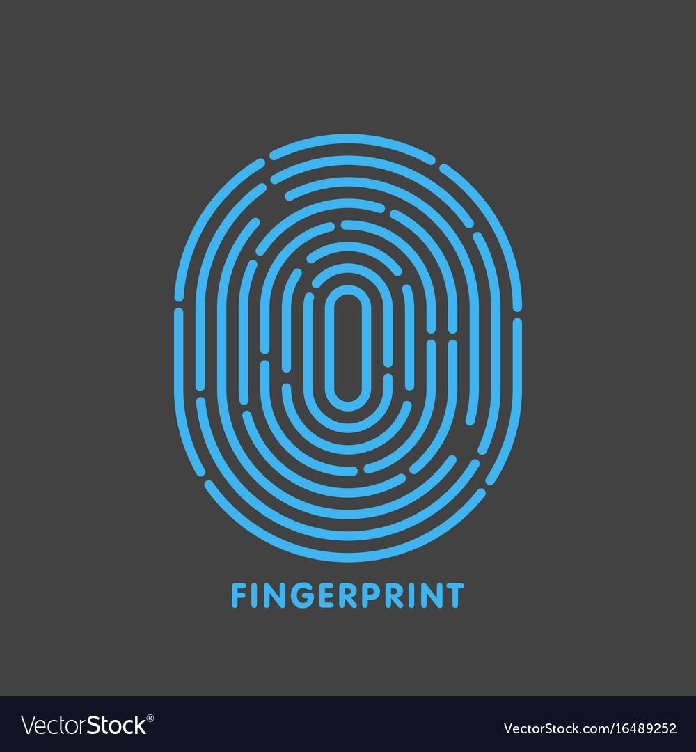 Blue line fingerprint in black background