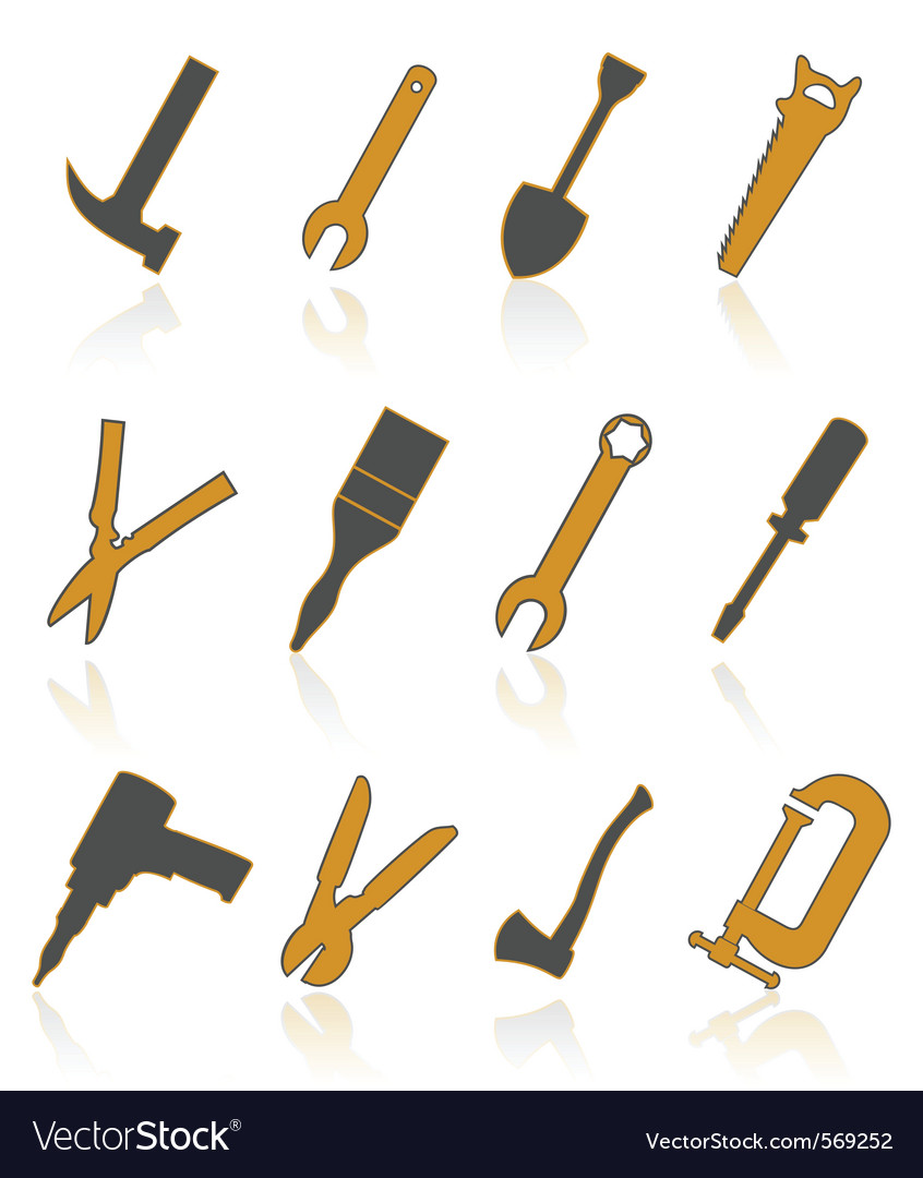 Builders tools icons vector image