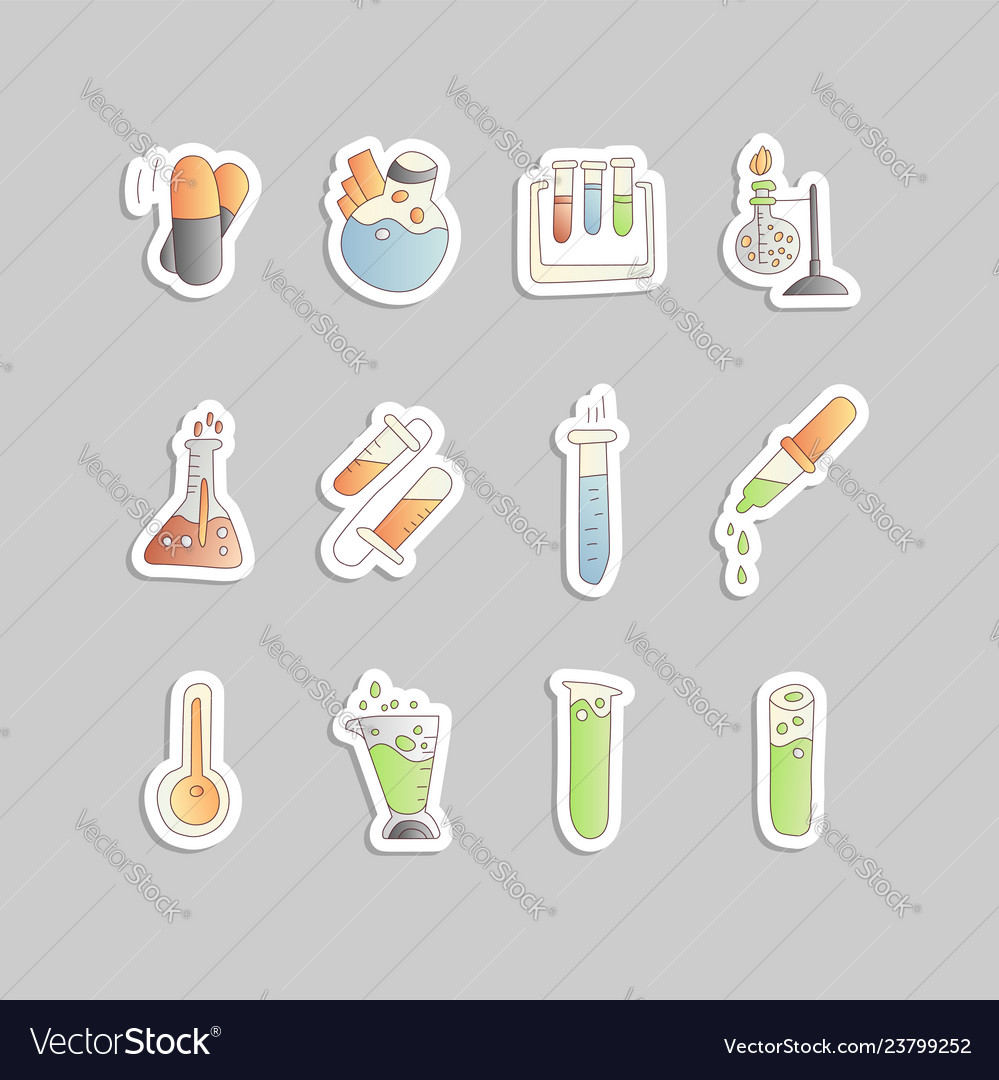 Chemical and physical test tubes set of icons in
