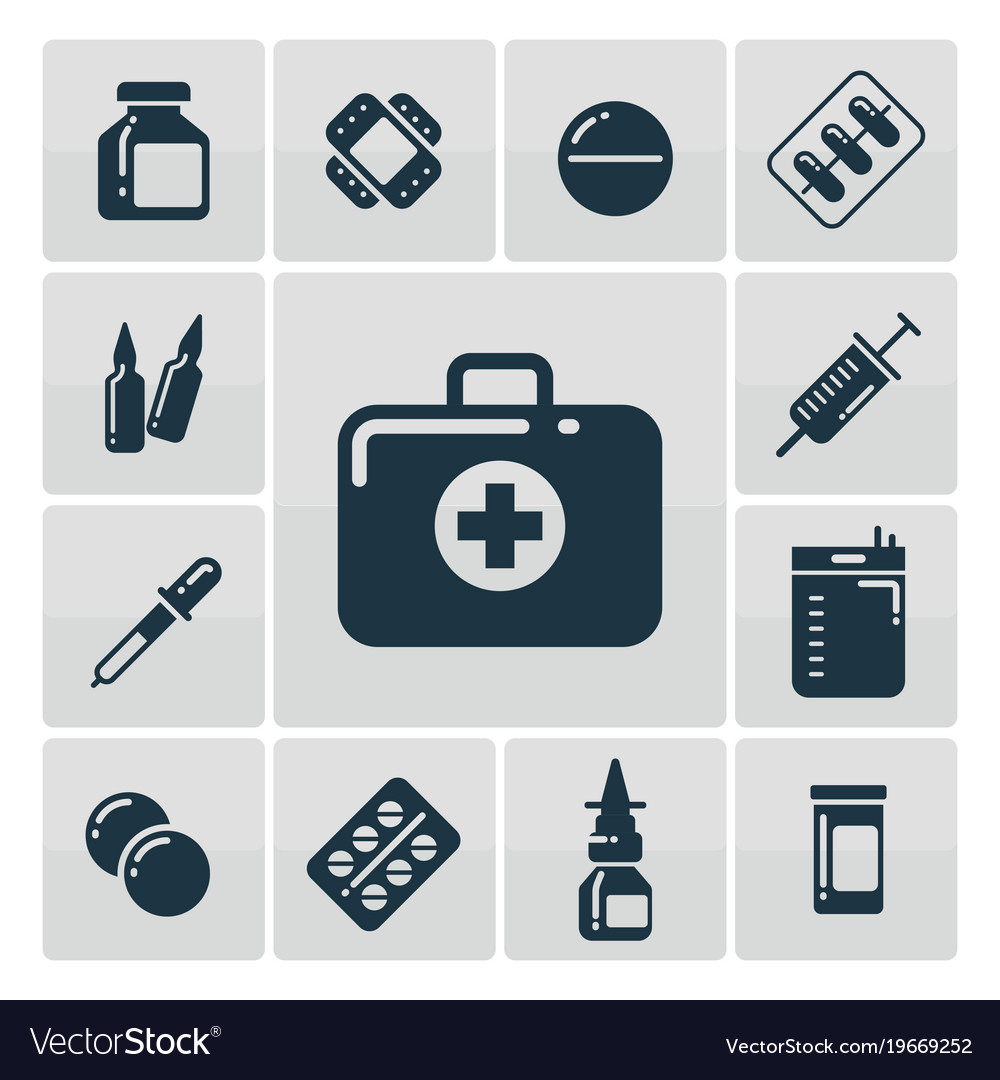 First aid kit silhouette icons set