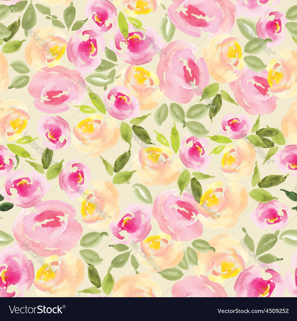 Floral Background Watercolor Roses Seamless Vector Image