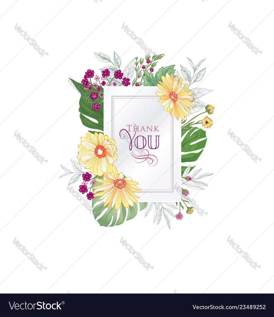 Floral greeting card flower frame over white