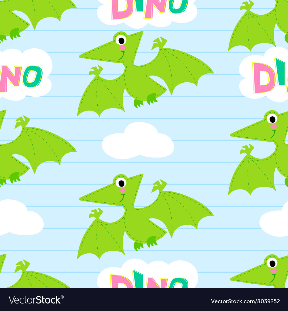 Flying dinosaur seamless pattern
