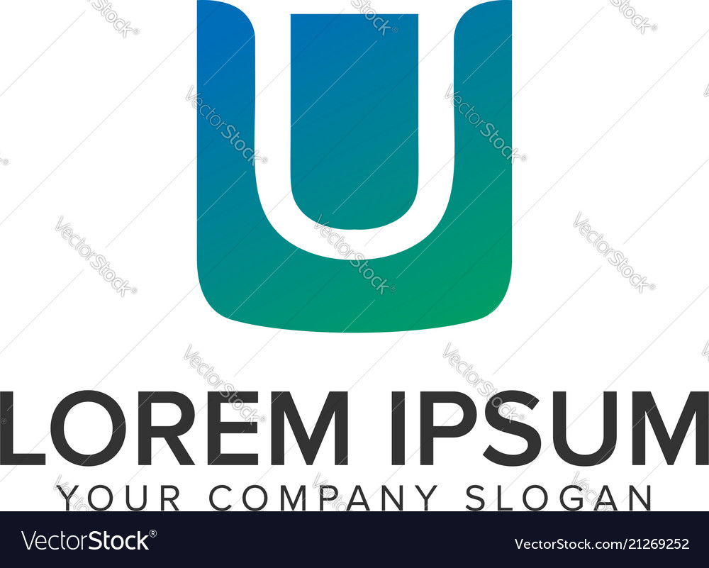 Letter U Bag Shopping Logo Design Concept Vector Image