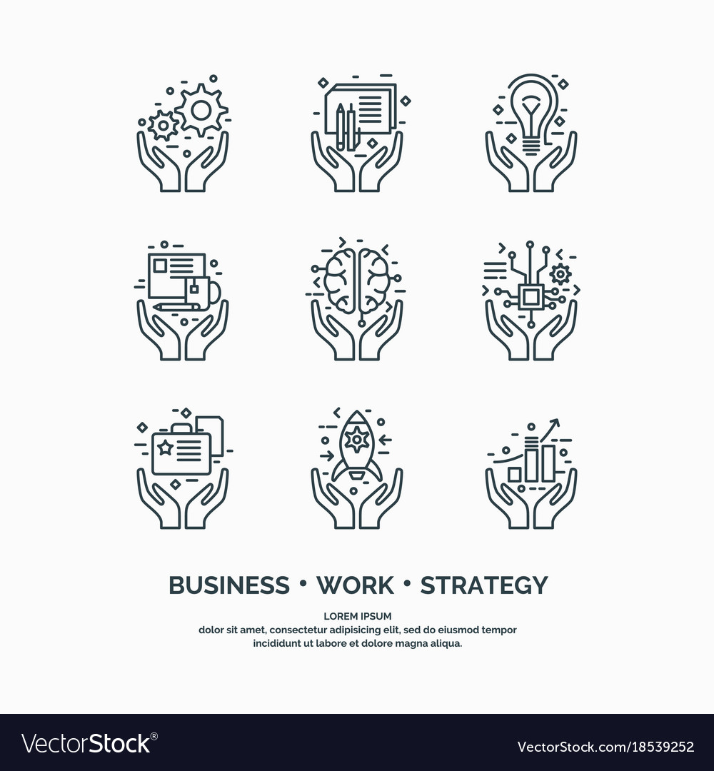Linear icons business analytics and statistics